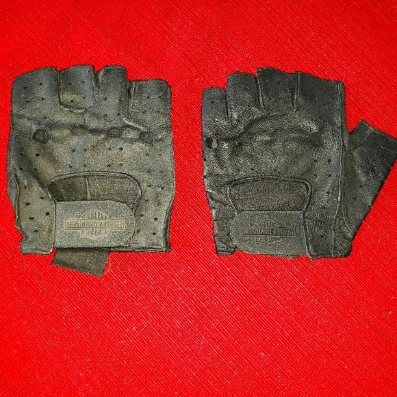 Harley Davidson Leather Fingerless Gloves